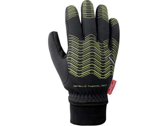 Shimano Windstopper Reflektierende Thermo Handschuhe Herren neon yellow